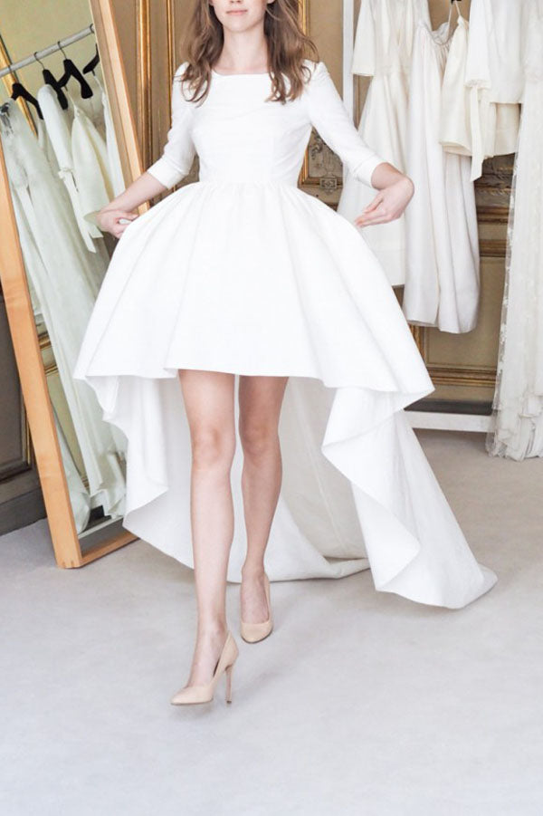 White A Line Asymmetrical 3/4 Sleeve Satin Wedding Dress,Beach Wedding Dress