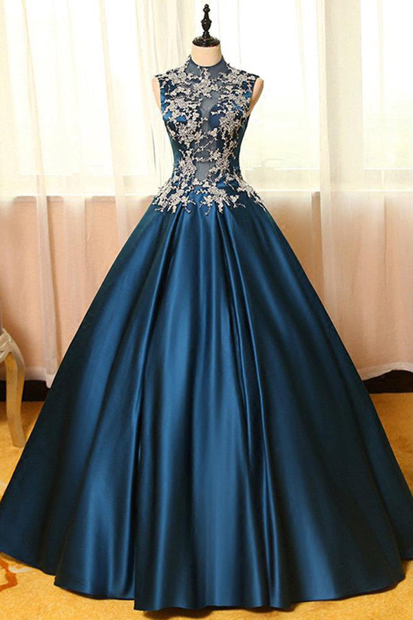 Navy Blue Ball Gown Floor Length High Neck Sleeveless Appliques Long Prom Dress,Party Dress