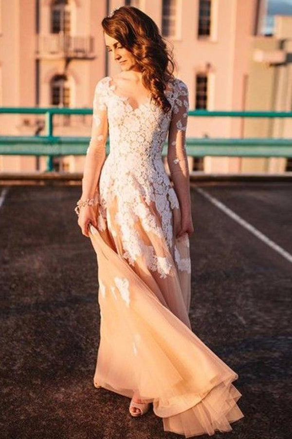 Romantic Long Sleeves V Neck With Lace Appliques See Through Wedding Dress W436
