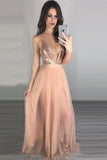 Pink A Line Floor Length Deep V Neck Sleeveless Backless Side Slit Prom Dress,Formal Dress