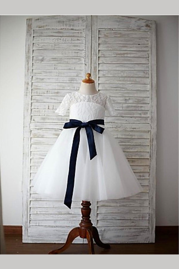 White A Line Floor Length Jewel Neck Short Sleeve Keyhole Back Flower Girl Dresses,Baby Dress