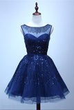 Royal Blue A Line Sheer Neck Sleeveless Deep V Back Sequins Beading Short Homecoming Dress H268 - Ombreprom