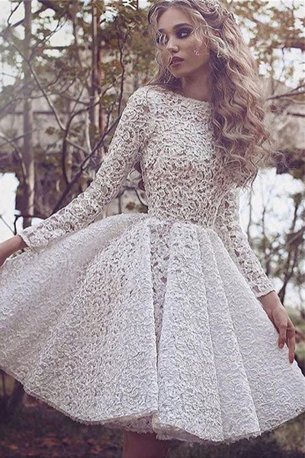 White A Line Jewel Neck Long Sleeve Homecoming Dress,Lace Appliques Short/Mini Prom Dress H249