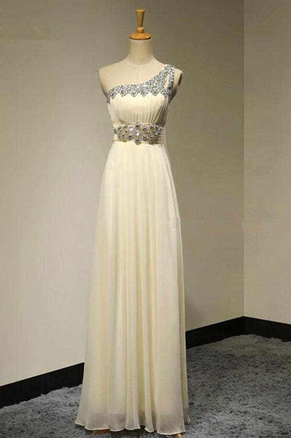 Ivory A Line Floor Length One Shoulder Sleeveless Beading Bridesmaid Dress, Wedding Party Dress
