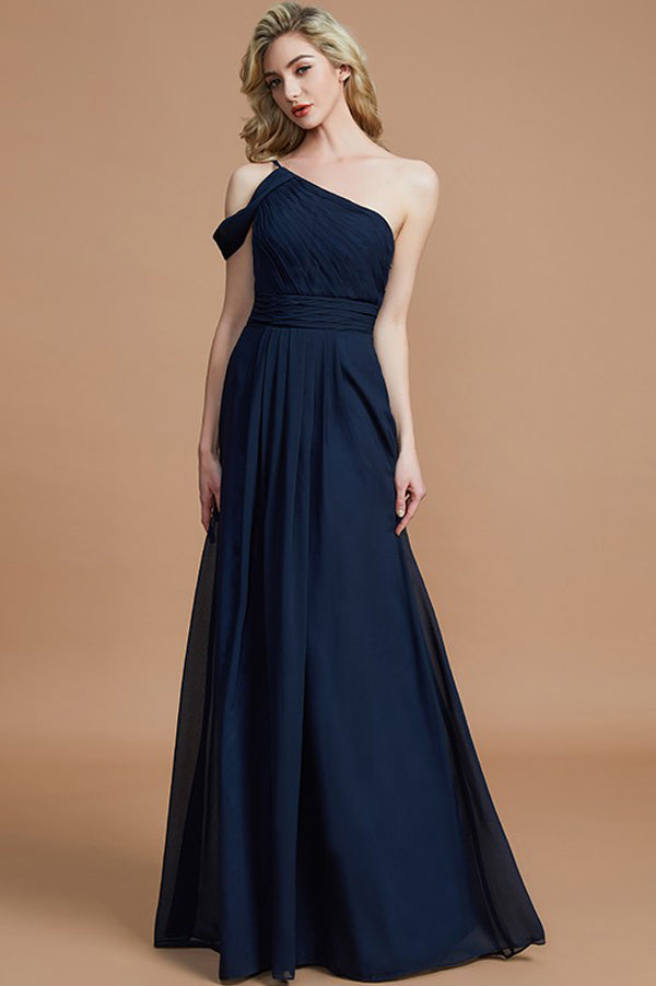 Navy Blue A Line Floor Length One Shoulder Sleeveless Chiffon Bridesmaid Dress, Wedding Party Dress