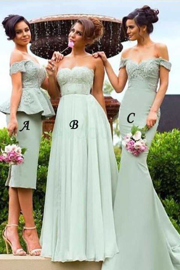 Mint A Line Floor Length Sweetheart Sleeveless Bridesmaid Dress, Wedding Party Dress B305 - Ombreprom