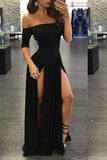 Black A Line Floor Length Off Shoulder 1/2 Sleeve Side Slit Evening/Prom Dress P65 - Ombreprom