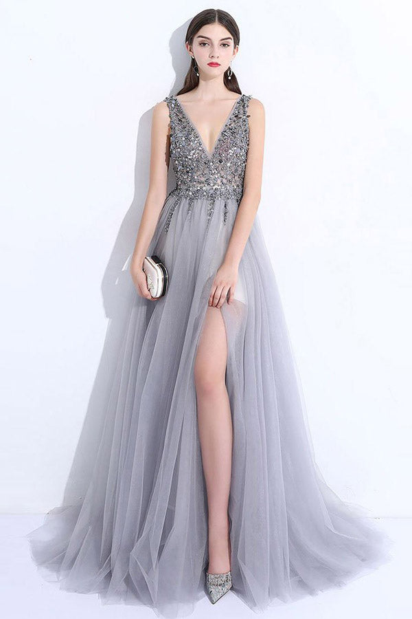 Gray A Line Brush Train Deep V Neck Sleeveless Backless Beading Prom Dress,Party Dress
