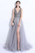 Gray A Line Brush Train Deep V Neck Sleeveless Backless Beading Prom Dress,Party Dress P479