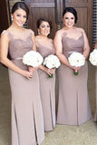 Sheath Floor Length Sheer Neck Sleeveless Appliques Split Cheap Bridesmaid Dress