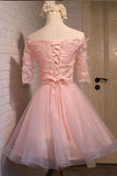 Pink Off Shoulder Homecoming Dresses,Half Sleeve Appliques Short Prom Dress HCD157 - Ombreprom