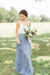 A Line Sweep Train Square Sleeveless Layers Tulle Cheap Bridesmaid Dress B211 - Ombreprom