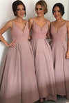 Pink A Line Deep V Neck Sleeveless Beading Cheap Bridesmaid Dress