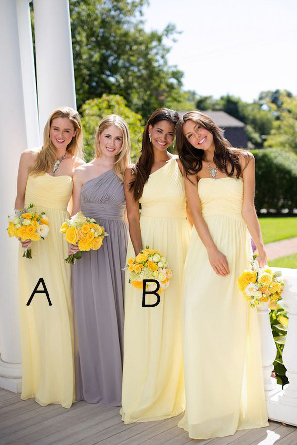 Gray A Line Floor Length One Shoulder Chiffon Simple Cheap Bridesmaid Dresses