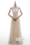 White Two Piece A Line Floor Length Sleeveless Applique Wedding Dress,Beach Wedding Dress W263 - Ombreprom