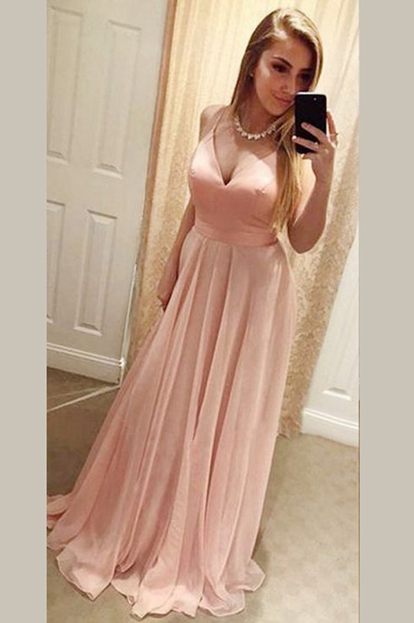 Pink A Line Floor Length Sweetheart Spaghetti Sleeveless Backless Chiffon Prom Dress,Party Dress