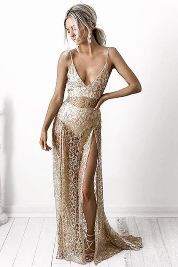 Golden A Line Sweep Train Sweetheart Spaghetti Side Slit Backless Long Prom Dress,Party Dress
