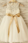 A Line Floor Length Sleeveless Zipped Back Ribbon Lace Flower Girl Dresses,Baby Dress