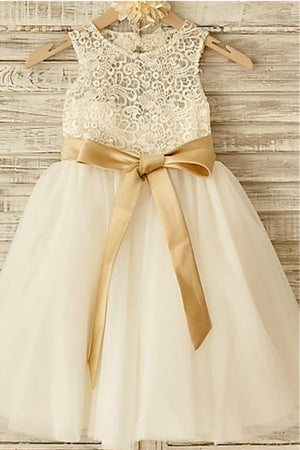 A Line Floor Length Sleeveless Zipped Back Ribbon Lace Flower Girl Dresses,Baby Dress F25 - Ombreprom