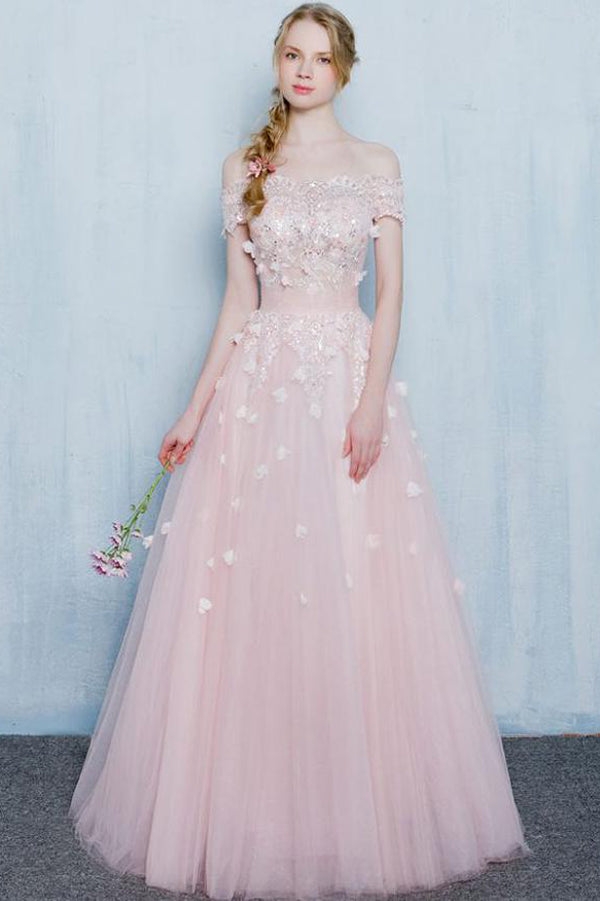 Pink A Line Floor Length Off Shoulder Appliques Beading Long Prom Dress,Party Dress