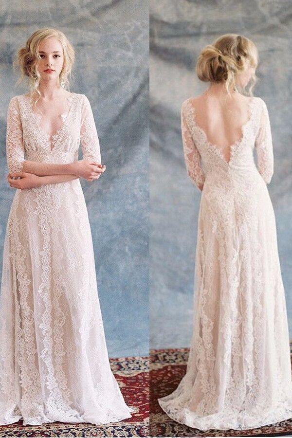 Charming Deep V Neck Lace Half Sleeves Backless Floor Length Wedding Dress W415 - Ombreprom