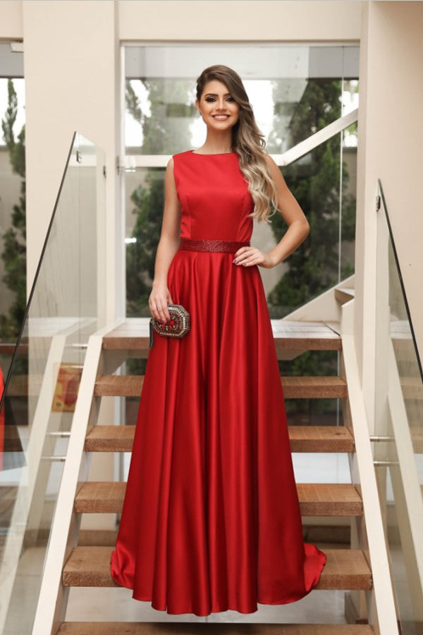 Red A Line Sweep Train Jewel Neck Sleeveless Simple Prom Dress,Party Dress P340 - Ombreprom