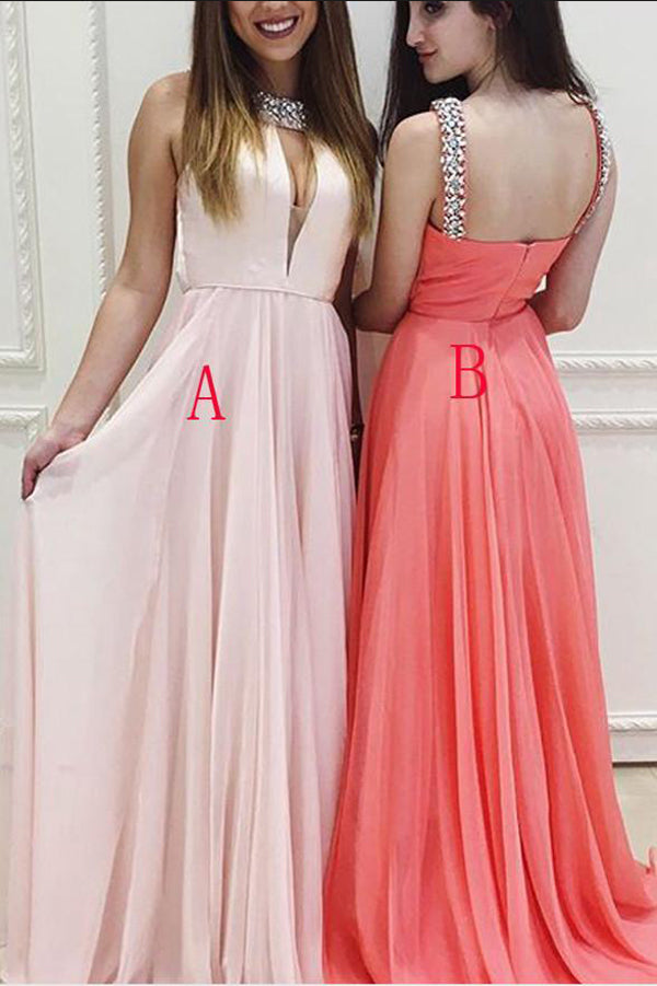 Pink A Line Floor Length Halter Sleeveless Mid Back Beading Prom Dress,Party Dress