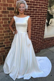 A Line Court Train Bateau Neck Sleeveless Satin Wedding Dress,Beach Wedding Dress W233