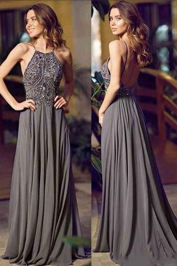 Gray A Line Floor Length Halter Sleeveless Backless Beading Prom Dress,Evening Dress