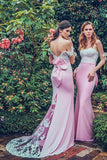 Pink Sheath Brush Train Off Shoulder Appliques Bridesmaid Dress, Wedding Party Dress