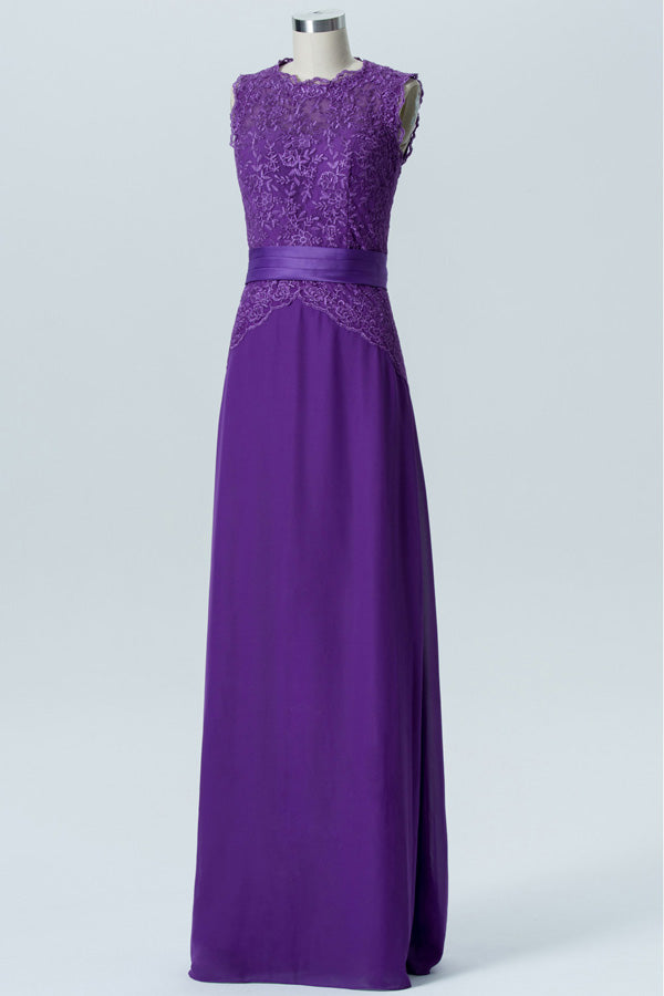 Royal Purple A Line Floor Length Jewel Neck Sleeveless Cheap Bridesmaid Dresses