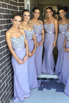 Lavender Mermaid Sweep Train Sweetheart Strapless Sleeveless Appliques Cheap Bridesmaid Dress