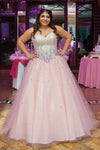 Pink A Line Floor Length Sweetheart Strapless Sleeveless Beading Plus Size Prom Dresses