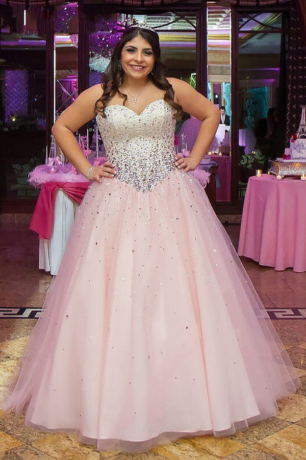 Pink A Line Floor Length Sweetheart Strapless Sleeveless Beading Plus Size  Prom Dresses S13
