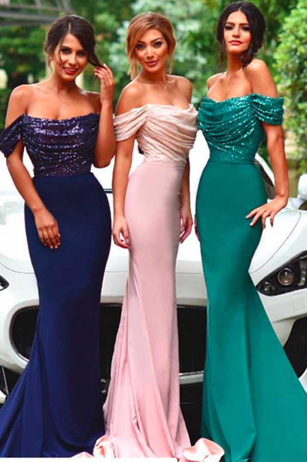 Pink Sheath Sweep Train Off Sholder Sleeveless Sparkle Cheap Bridesmaid Dress B302 - Ombreprom