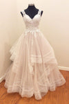 A Line Brush Train Sweetheart Sleeveless Ruffles Appliques Wedding Dress,Perfect Wedding Gowns