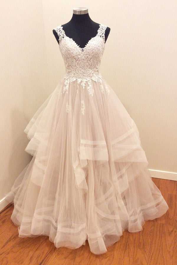 A Line Brush Train Sweetheart Sleeveless Ruffles Appliques Wedding Dress,Perfect Wedding Gowns W279 - Ombreprom