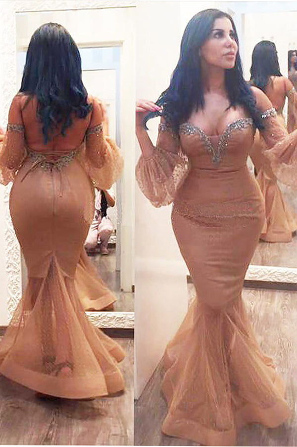 Mermaid 3/4 Sleeves Off Shoulder Beading Floor Length Plus Size Prom Dresses