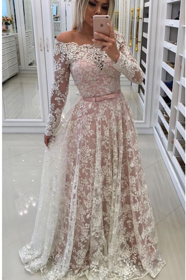 A Line Floor Length Off Shoulder Long Sleeve Lace Prom Dress,Party Dress P424 - Ombreprom