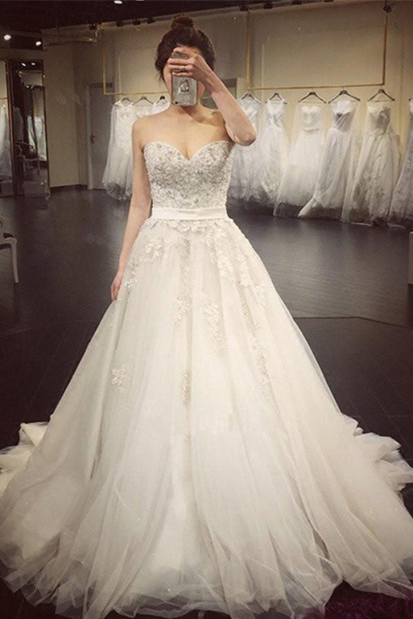 White A Line Court Train Sweetheart Sleeveless Beading Wedding Dress,Wedding Gowns