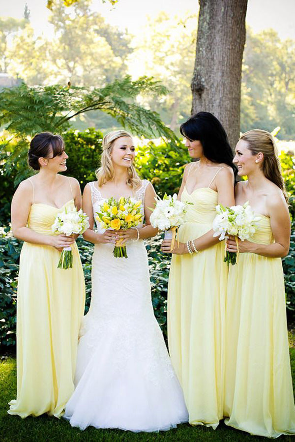 Yellow A Line Floor Length Sweetheart Spaghetti Mid Back Chiffon Cheap Bridesmaid Dress