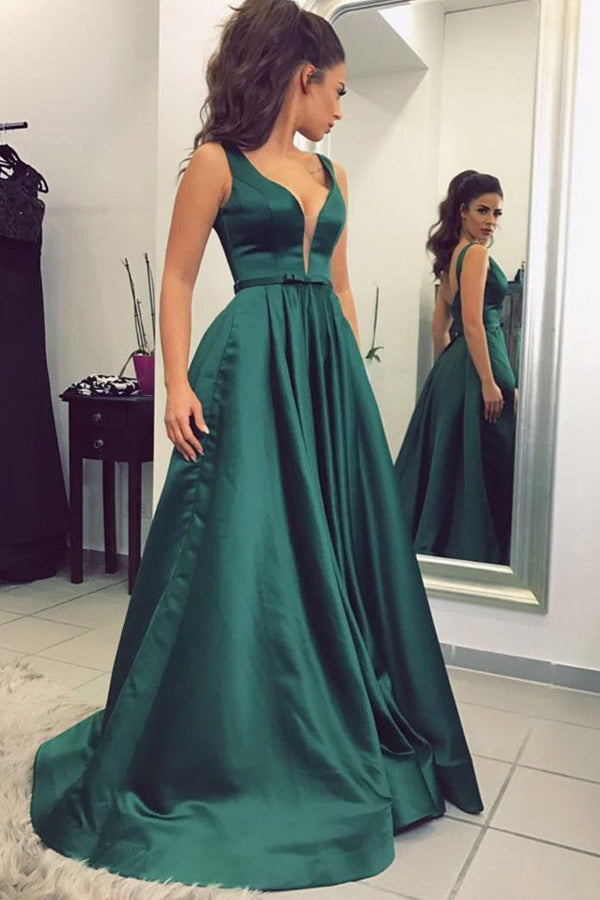 Green A Line Sweep Train Deep V Neck Sleeveless Low Back Satin Prom Dress,Party Dress