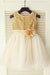 Gold A Line Floor Length Scoop Neck Sleeveless Sequins Flower Girl Dresses,Baby Dress F34