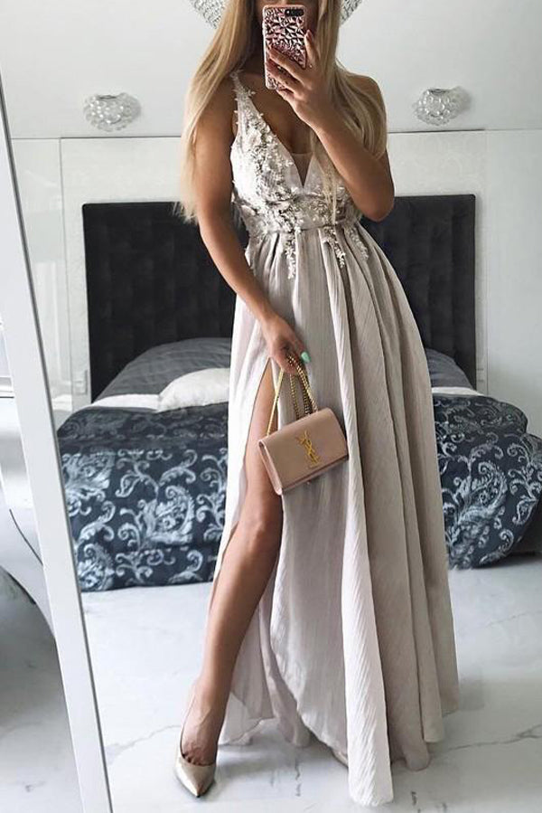 A Line Floor Length Deep V Neck Sleeveless Side Slit  Cheap Prom Dress,Evening Dress P256 - Ombreprom