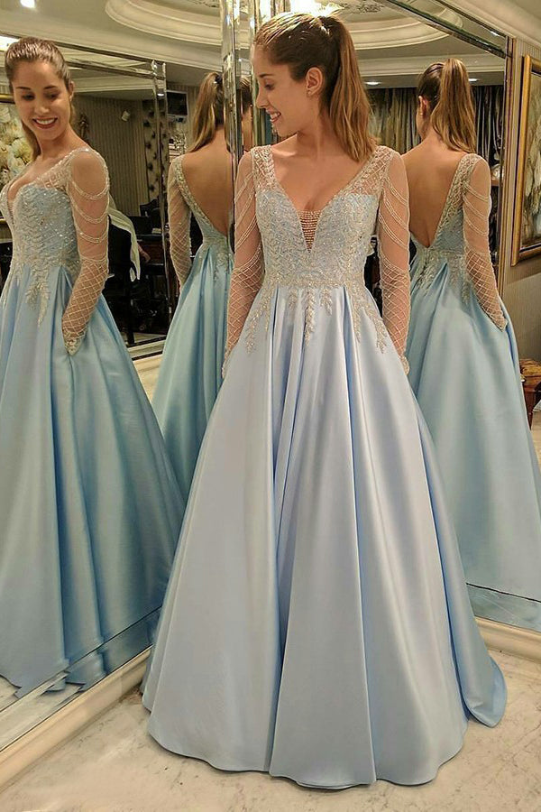 Light Blue A Line Brush Train Deep V Neck Long Sleeve Appliques Prom Dress,Party Dress