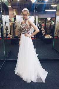 White A Line Brush Train Halter Sleeveless Layers Tulle Embroidery Prom Dress,Party Dress