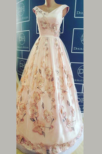 Pink Ball Gown Floor Length V Neck Capped Sleeve Floral Long Prom Dress,Party Dress