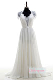 White A Line Court Train V Neck Capped Sleeve Chiffon Wedding Dress,Cheap Wedding Dress