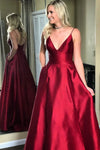Burgundy A Line Floor Length Deep V Neck Sleeveless Mid Back Prom Dress,Party Dress P496 - Ombreprom