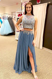 Two Piece A Line Floor Length Sleeveless Appliques Side Slit Prom Dress,Party Dress